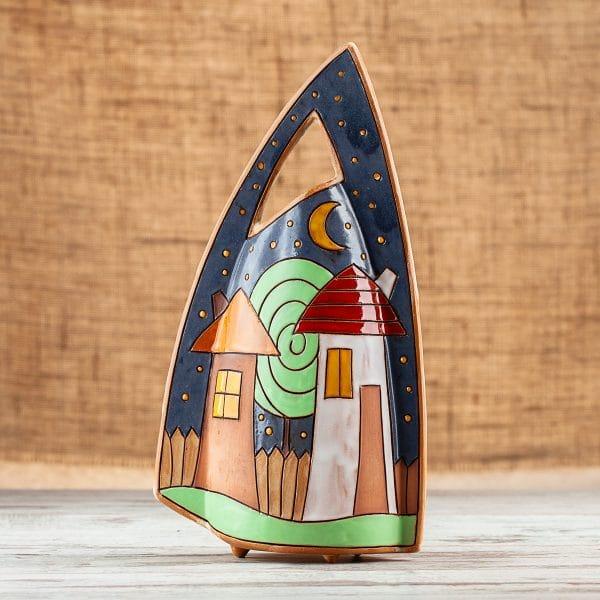 Ръчно изработена керамична ваза Къщички