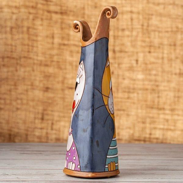 Тънка керамична ваза Котки портрет