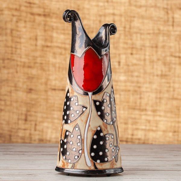 Тънка керамична ваза Лале