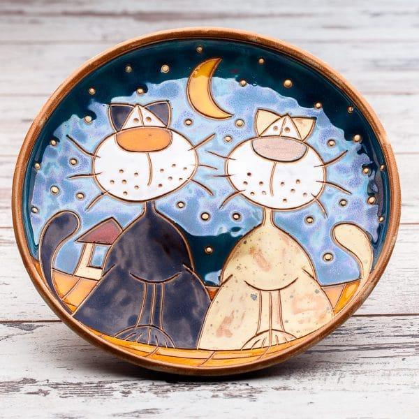 Керамична кръгла фруктиера Котки на покрив