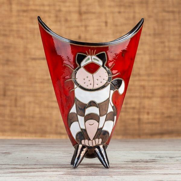 Ръчна изработка на керамична ваза Котка райе