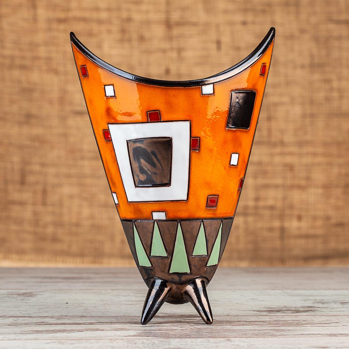 Ръчно изработена керамична ваза Оранжеви квадрати