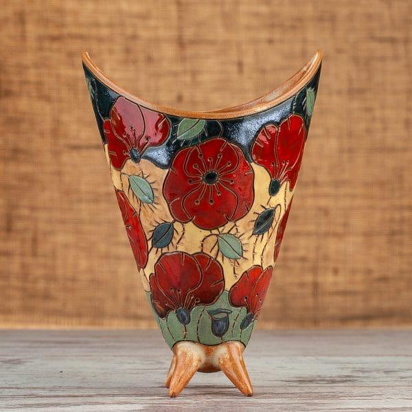 Ръчно изработени керамична ваза Макове