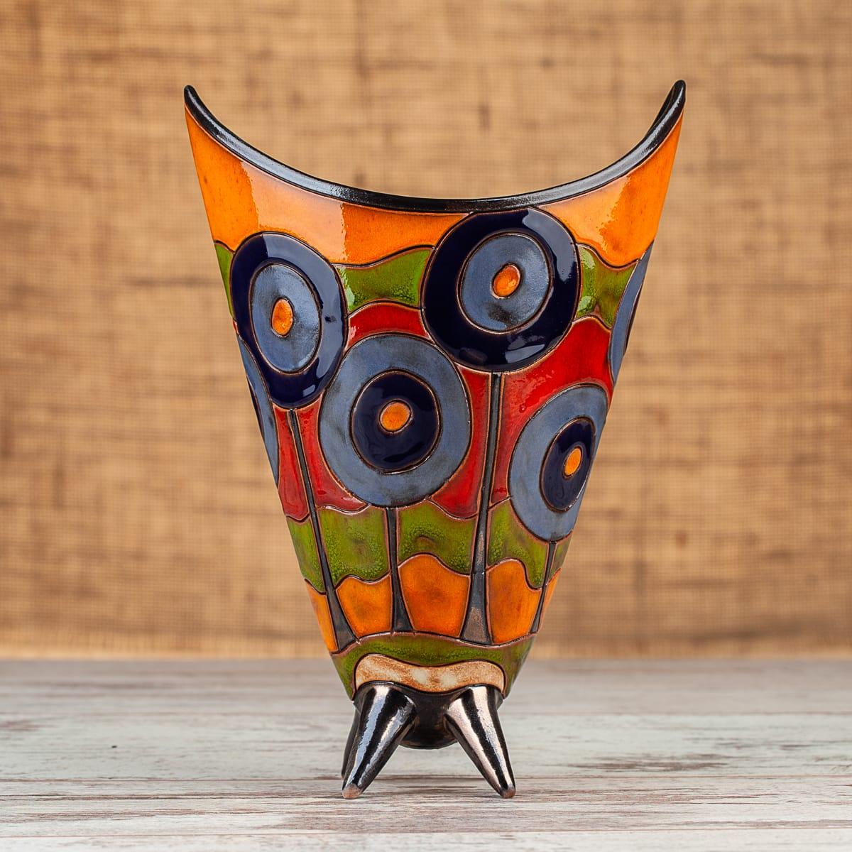 Ръчно изработена керамична ваза Сини дръвчета