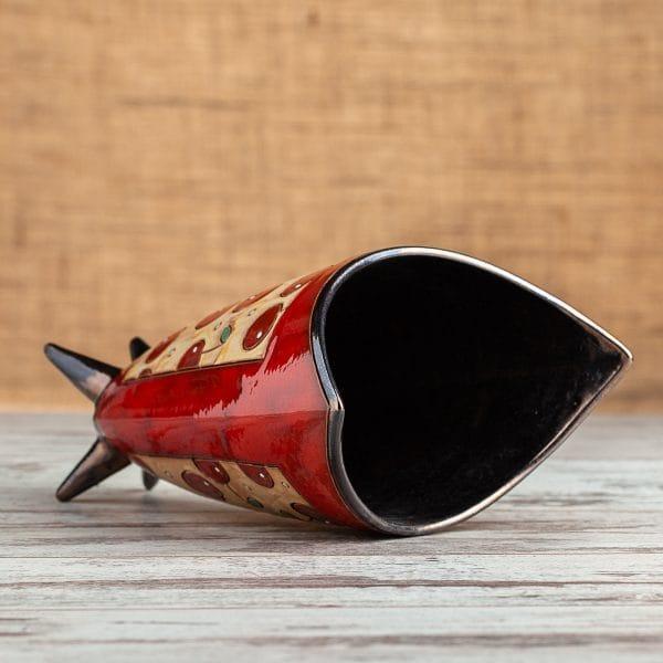 Ръчно изработена керамична ваза Котка райе
