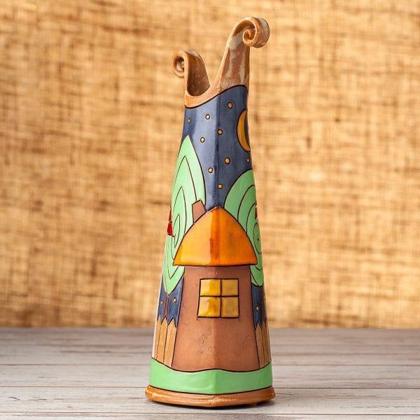 Керамична тънка ваза Къщички