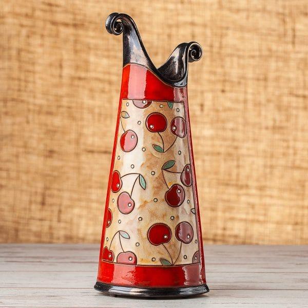 Тънка керамична ваза Череши