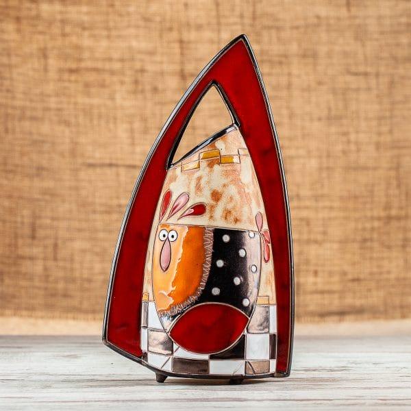 Ръчно изработена керамична ваза Кокошка на шахматна дъска