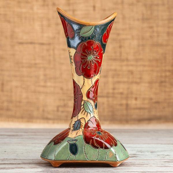 Керамична ваза шише Макове