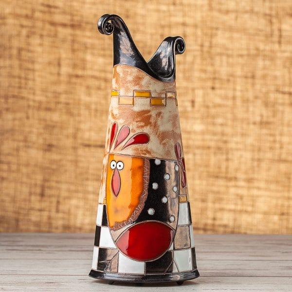 Тънка керамична ваза Кокошка на шахматна дъска