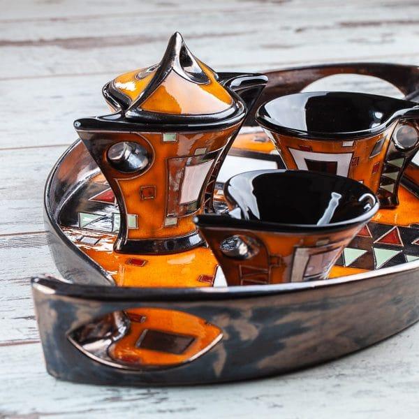 Керамичен комплект за Кафе Оранжеви квадрати
