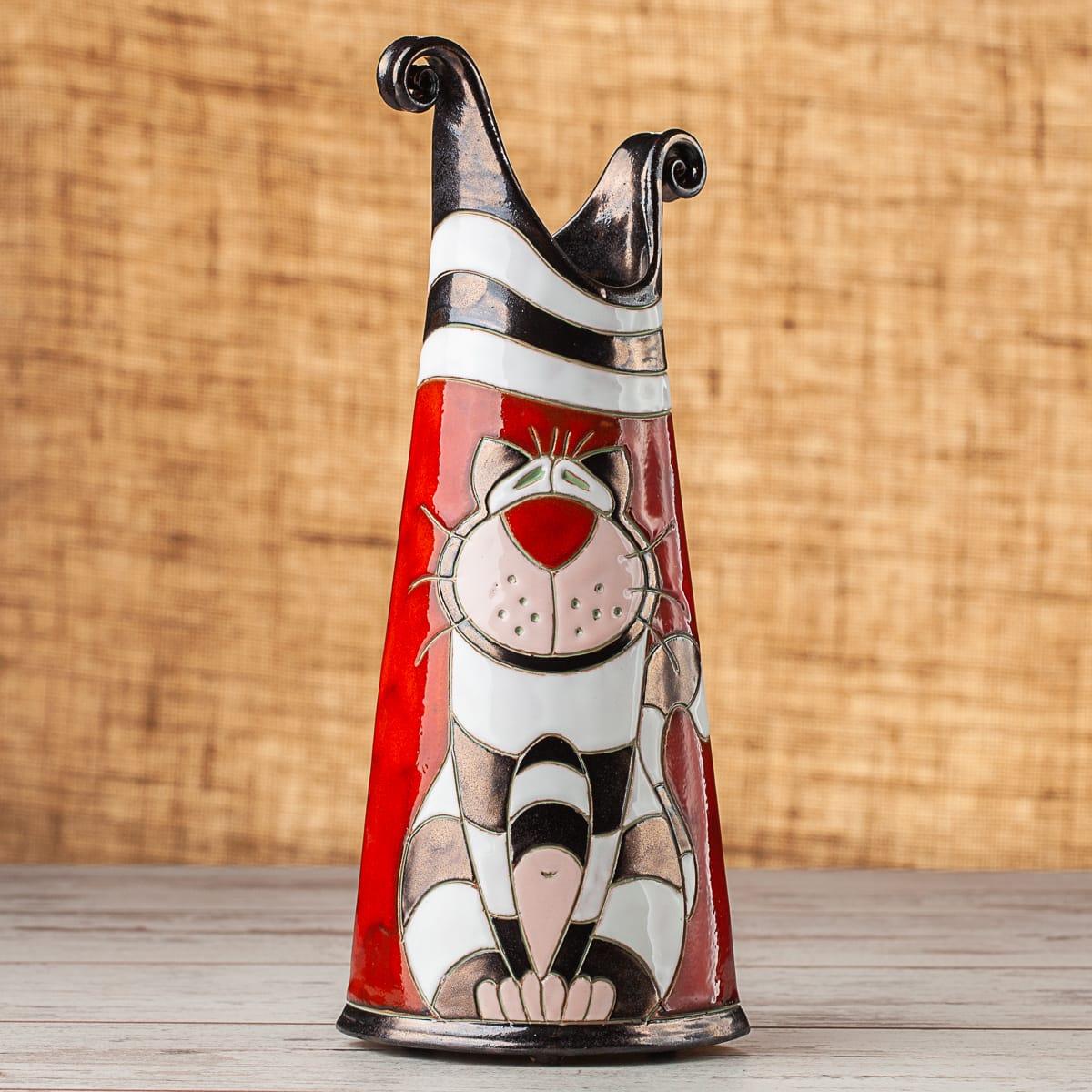 Тънка керамична ваза Котка Райе
