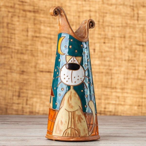 Керамична тънка ваза Котки на покрив